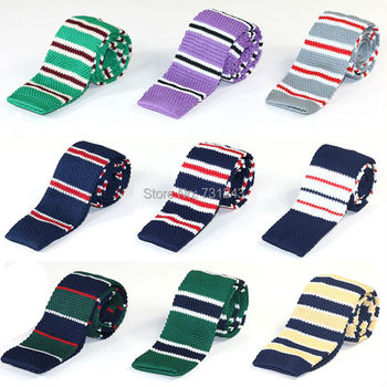 Striped Skinny Knitted ties for men Polyester Woven mens Slim necktie for Party Business Brand Handmade Neck Tie