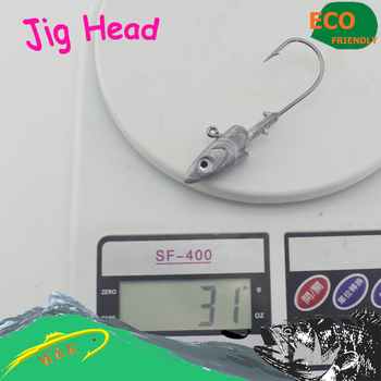 4 pcs 30 g jig head with 5/0 jig hook for soft bait