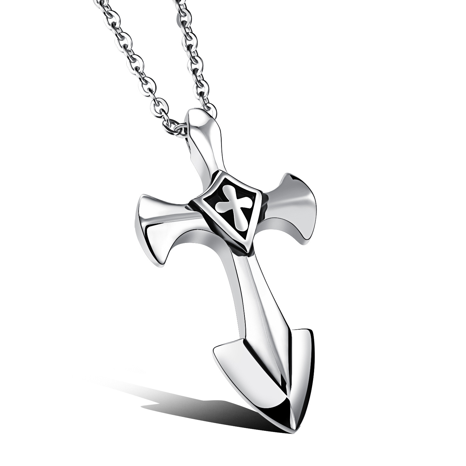 Stainless Steel Crusades Cross Pendant Men Necklace Punk Rock Style With 50cm Link Chain Polishing Jewelry Gift